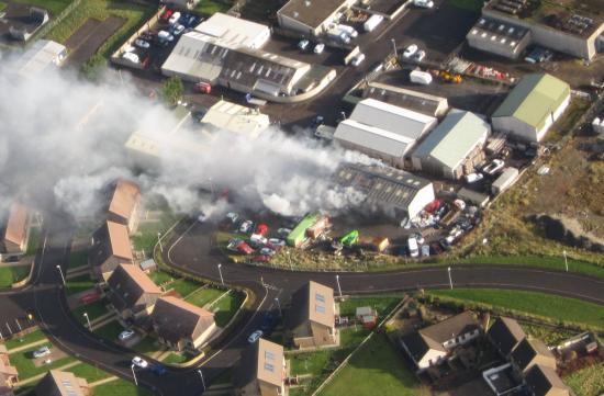 Photograph of Fire At Ormlie Industrial Estate - From The Air