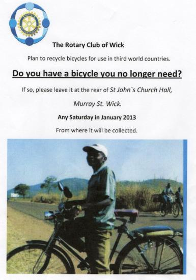 Photograph of Help Wick Rotary Club Recycle Bicycles