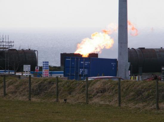 Photograph of Oil Well Flaring Gas Near Lybster, Caithness