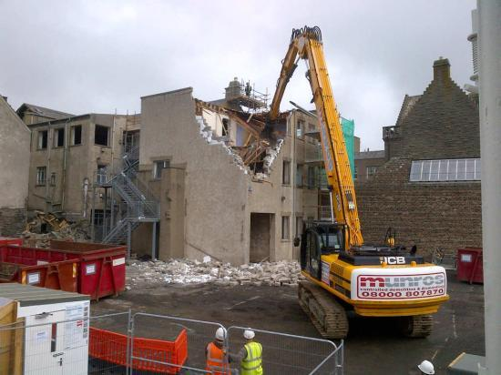 Photograph of Wick's Old Council Offices Begin To Come Down - Video