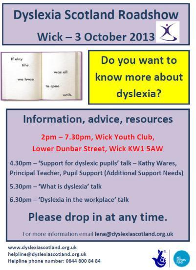 Photograph of DYSLEXIA SCOTLAND CAITHNESS ROADSHOW 2013