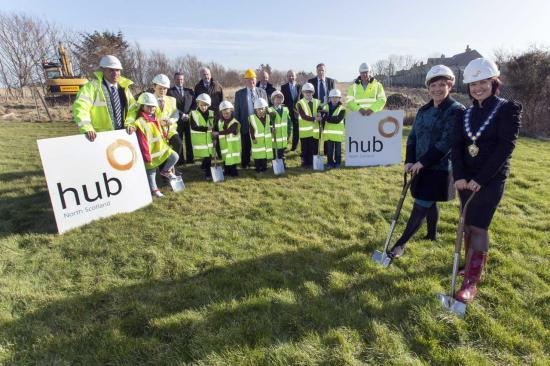 Photograph of Ceremony marks start of work at new Wick primary school