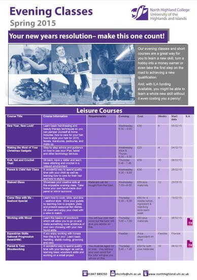 Photograph of More Evening Courses In 2015 At North Highland College, Thurso