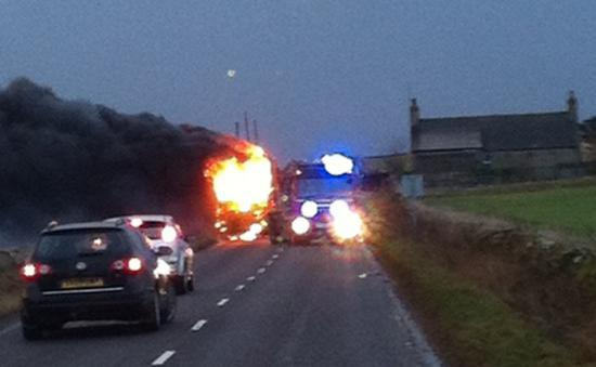 Photograph of Fire On Wick School Bus From Keiss