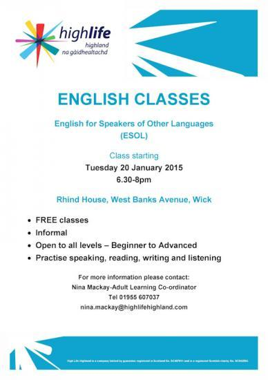 Photograph of English for Speakers of Other Languages (ESOL) Starts in Wick - Tuesday 20 January