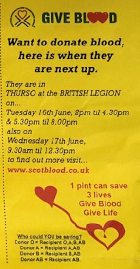 Photograph of Give blood - Thurso 16th and 17th June