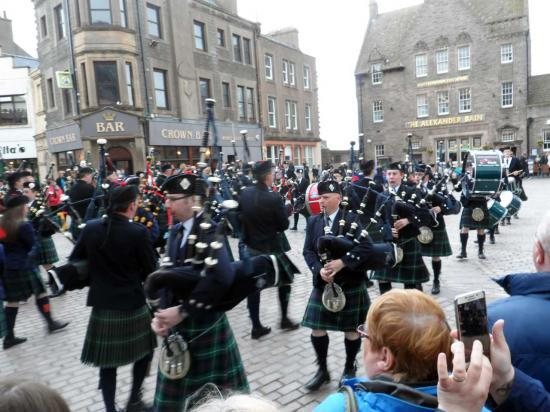 Photograph of Massed Caithness Pipe Bands At Market Square, Wick