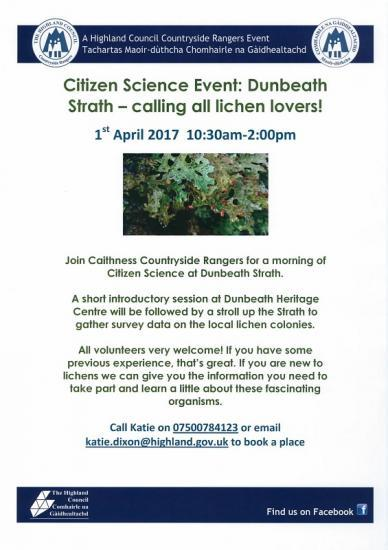 Photograph of Citizen Science Event: Dunbeath Strath - calling all lichen lovers!
