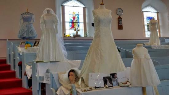Photograph of Wedding Dresses Display At St Fergus Church, Wick in aid of CHAT Funds