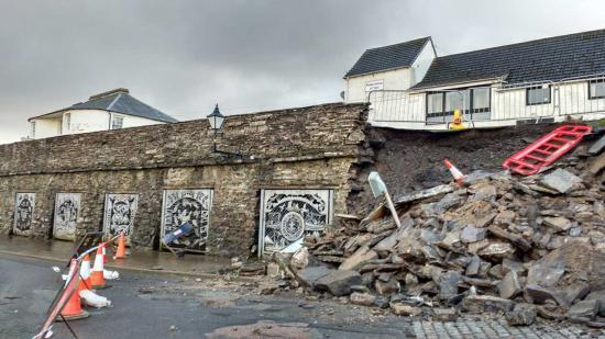 Photograph of Collapsed Wall At Wick Harbour