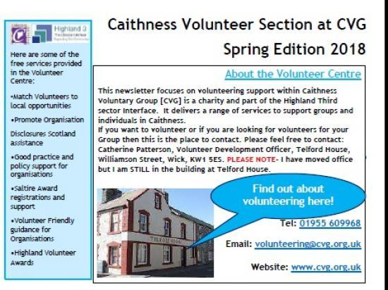Photograph of Volunteering Caithness Spring 2018 NewsLetter