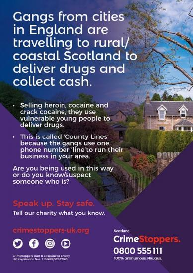Photograph of County Lines drug networks in Scotland  - Be Alert