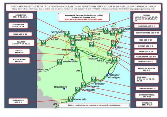 Photograph of Caithness Defibrillator Campaign Group (CDCG) Latest Map & List of AEDs in Caithness