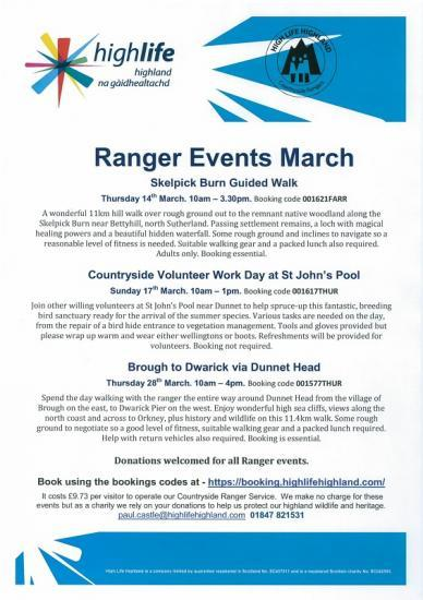 Photograph of Ranger Events In March