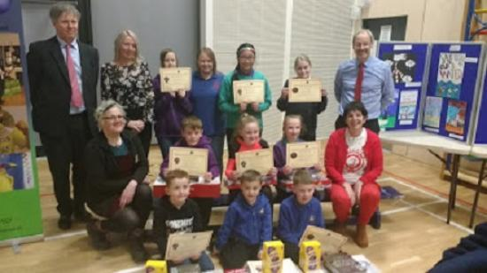 Photograph of Prize Winners at Science Festival Art Competition