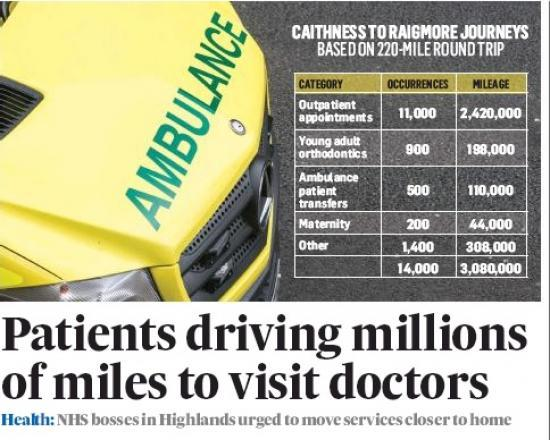Photograph of Page 4 of Press and Journal 27 April 2019 Showing a breakdown of Travel mileage from Caithness