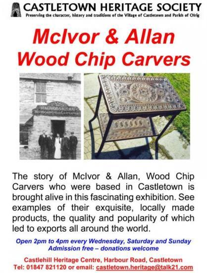 Photograph of McIvor and Allen Wood Chip Carvers of Castletown Exhibition