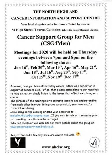 Photograph of Cancer Support Group for Men (CSG4Men) Meeting Dates For 2020