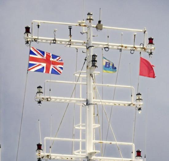 Photograph of Spotted At Scrabster Harbour Today - A Ship Flying The Union Jack Flag Upside Down