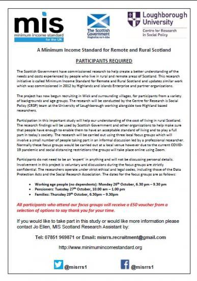 Photograph of A Minimum Income Standard for Remote and Rural Scotland - Volunteer Participants